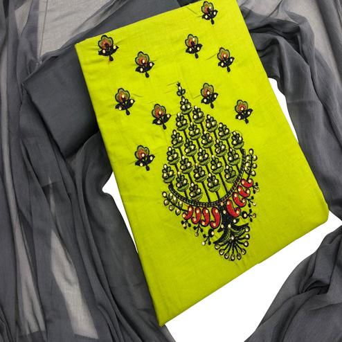 Jazzy Lime Green Colored Partywear Embroidered Cotton Dress Material