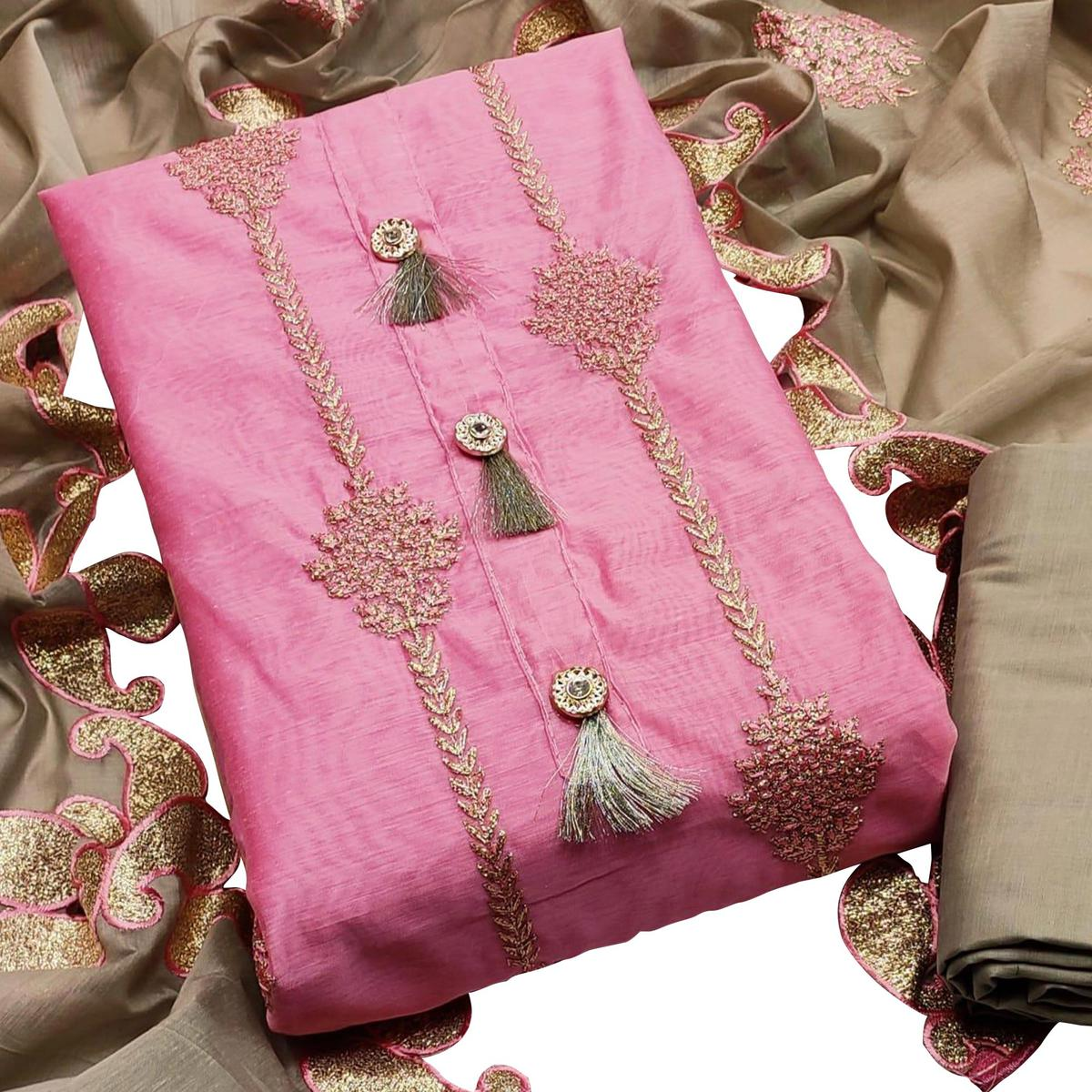 Delightful Pink Colored Partywear Embroidered Modal Chanderi Dress Material