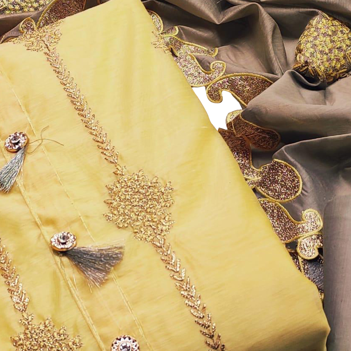 Engrossing Yellow Colored Partywear Embroidered Modal Chanderi Dress Material