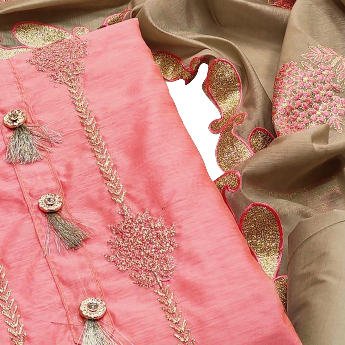 Captivating Peach Colored Partywear Embroidered Modal Chanderi Dress Material