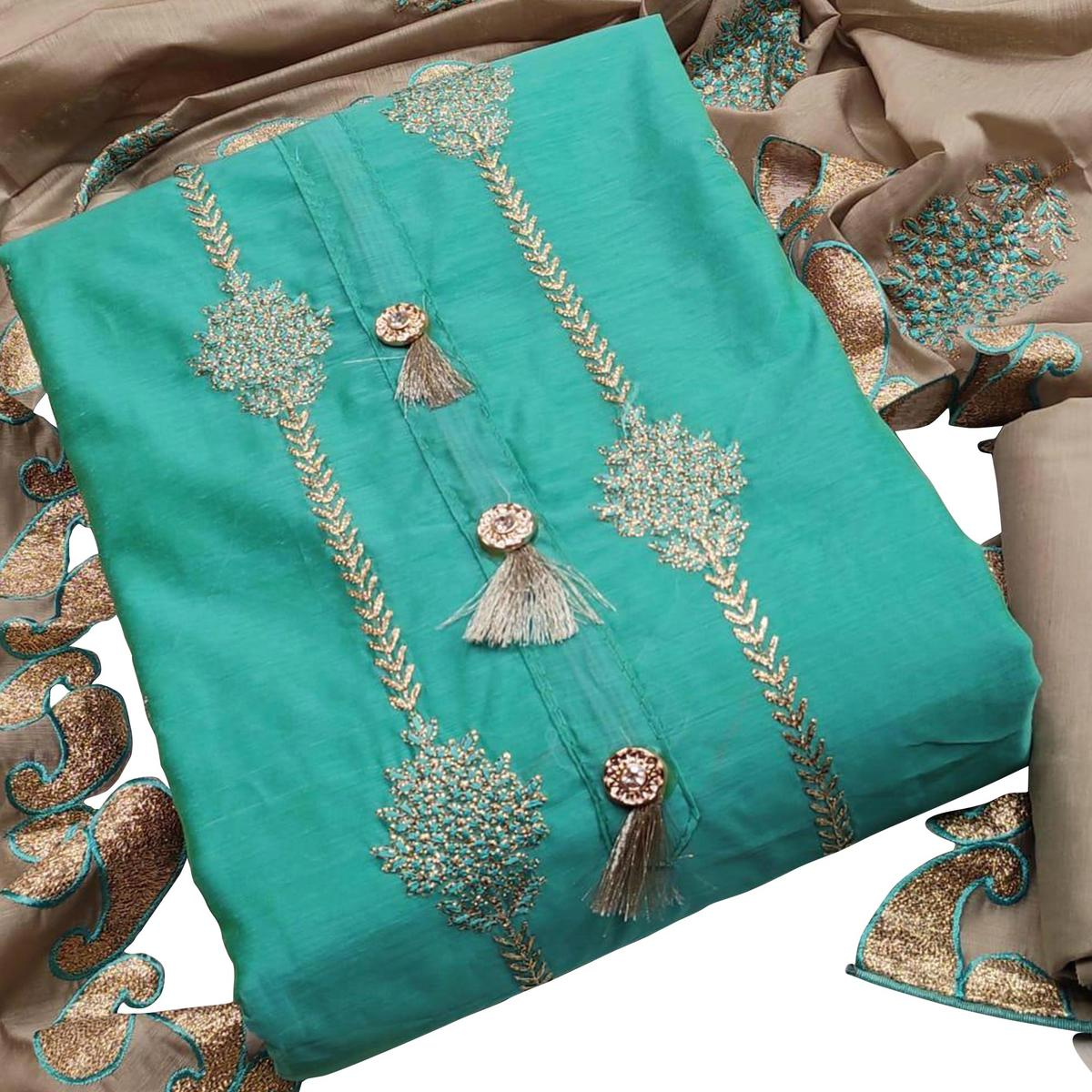 Innovative Turquoise Blue Colored Partywear Embroidered Modal Chanderi Dress Material