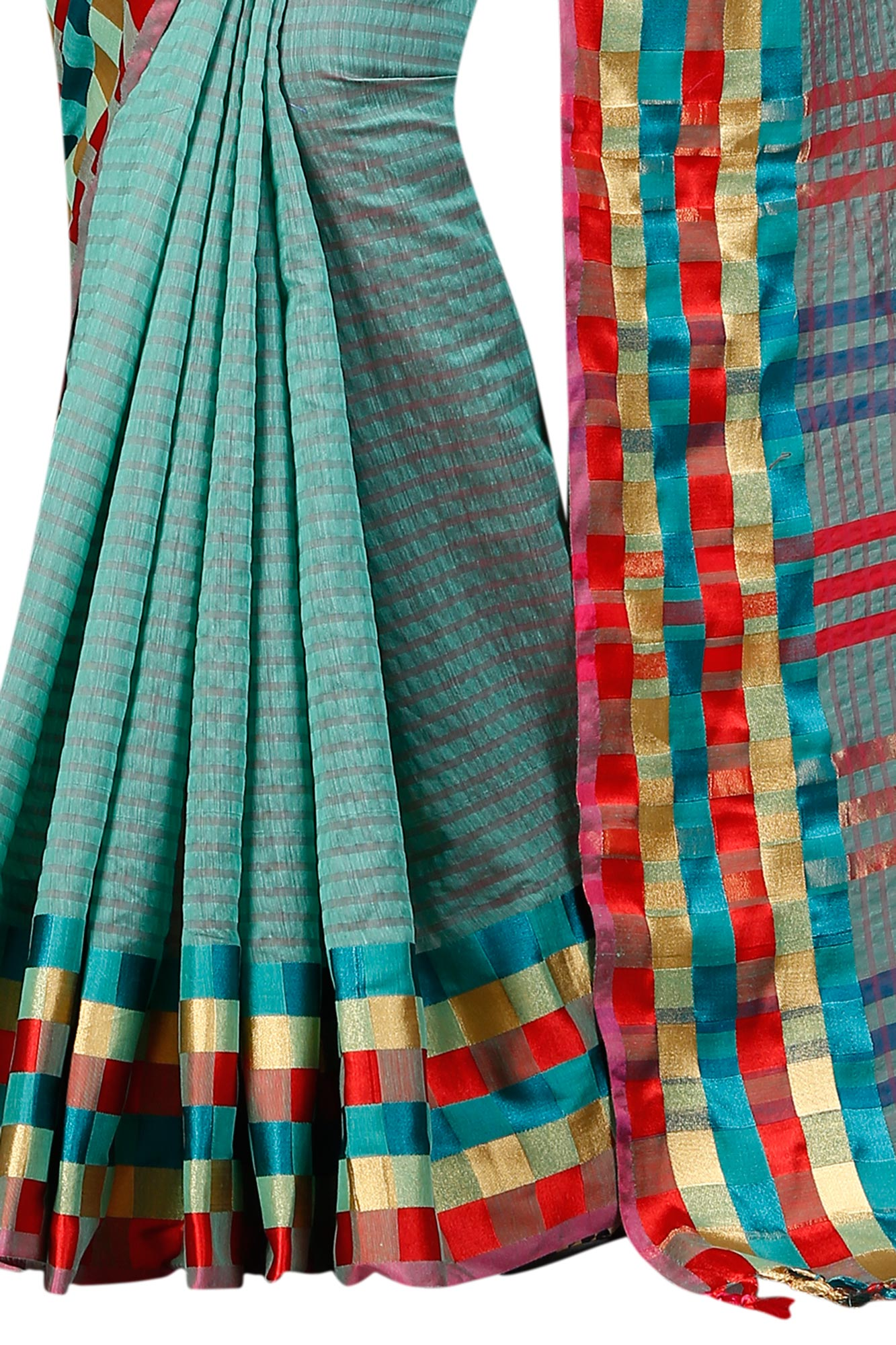 Stunning Firozi Festive Wear Chanderi Silk Saree