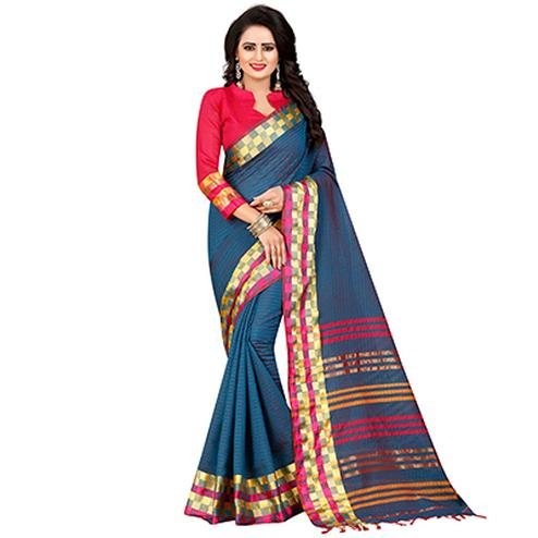 Lovely Blue Festive Wear Chanderi Silk Saree