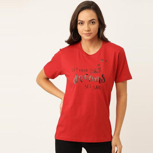 YOLOCLAN - Red Colored Casual Wear Printed Women Let Your Dreams Set Sail Cotton T-Shirt