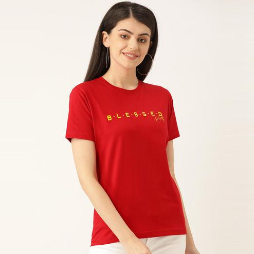 YOLOCLAN - Red Colored Casual Wear Printed Women Blessed Feeling Cotton T-Shirt
