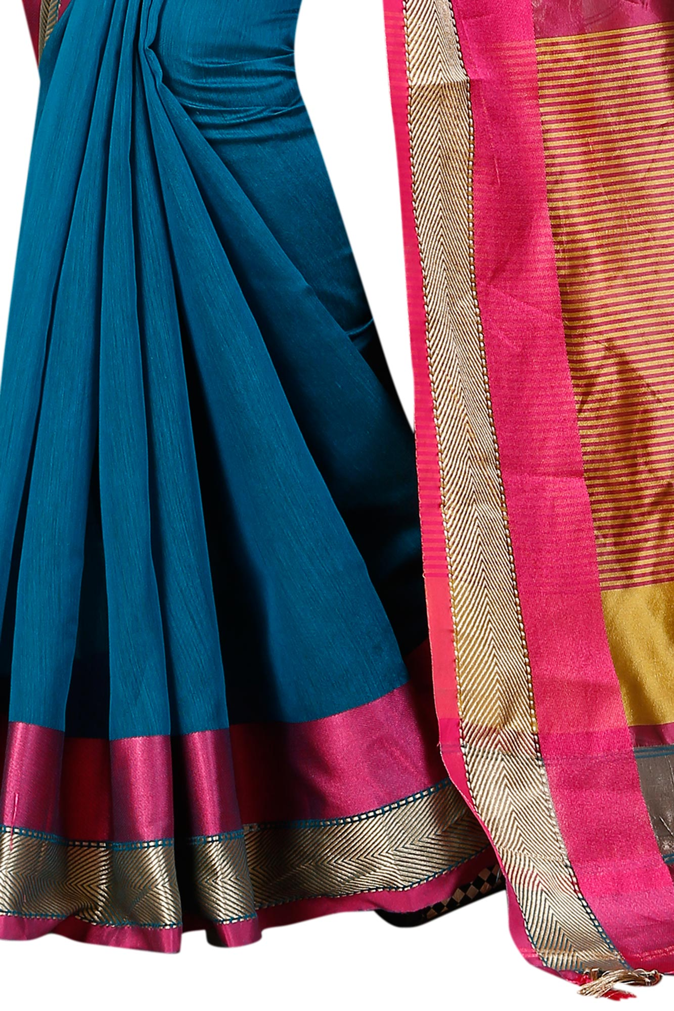 Adorable Blue Festive Wear Chanderi Silk Saree