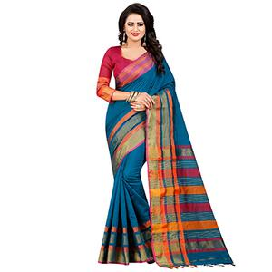 Gorgeous Blue Festive Wear Chanderi Silk Saree