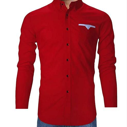 Groovy Red Colored Casual Wear Solid Pure Cotton Shirt