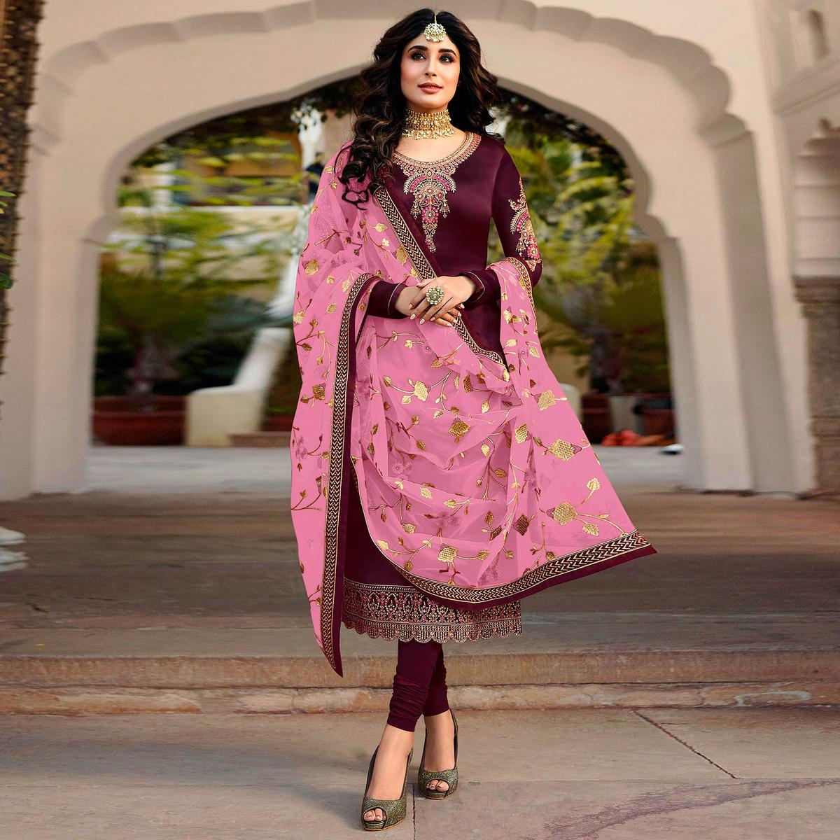 Appealing Purple Colored Partywear Embroidered Satin Georgette Suit