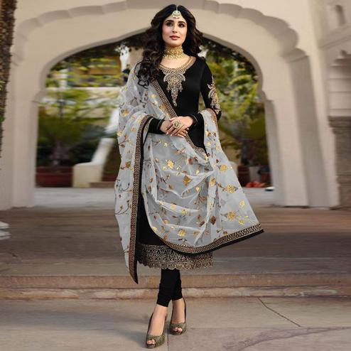 Ideal Black Colored Partywear Embroidered Satin Georgette Suit