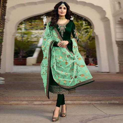 Imposing Green Colored Partywear Embroidered Satin Georgette Suit