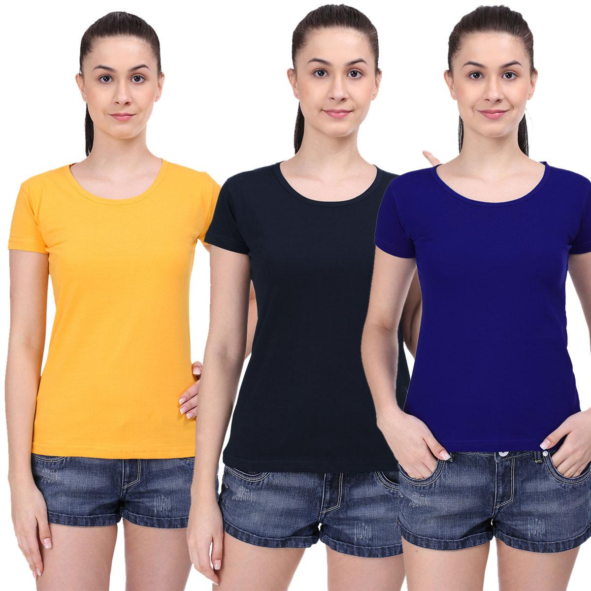 Opulent Casual Wear Solid Cotton T-Shirt - Pack of 3