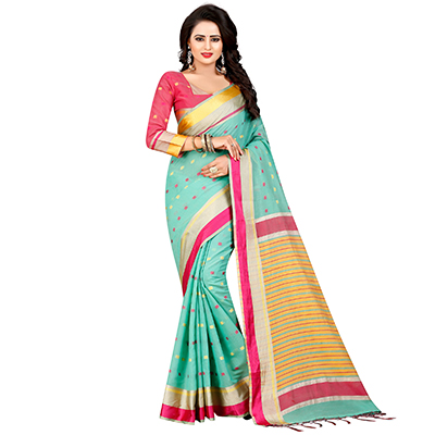 Dazzling Pista Green Festive Wear Chanderi Silk Saree