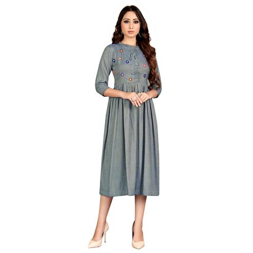 Desirable Grey Colored Party Wear Embroidered Rayon Kurti
