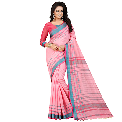 Adorable Pink Festive Wear Chanderi Silk Saree