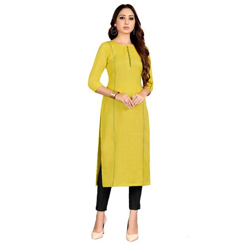 Exotic Yellow Colored Party Wear Embroidered Straight Raw Silk Kurti