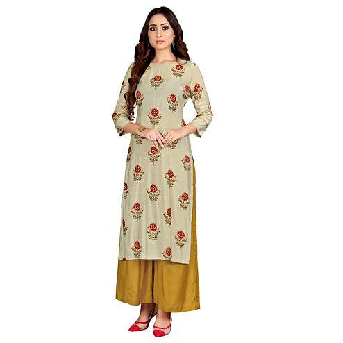 Pleasant Beige Colored Party Wear Printed Straight Muslin Cotton Kurti-Palazzo Set