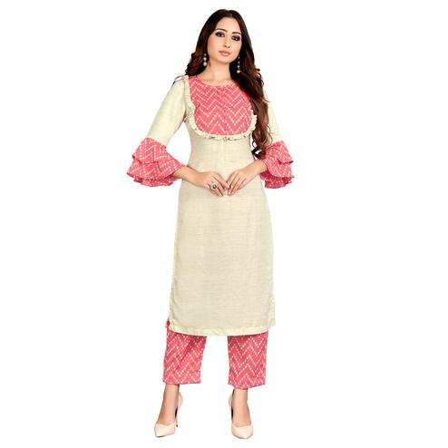 Exceptional Cream Colored Party Wear Solid Straight Kurti-Palazzo Set