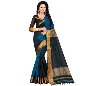 Stunning Black Festive Wear Chanderi Silk Saree