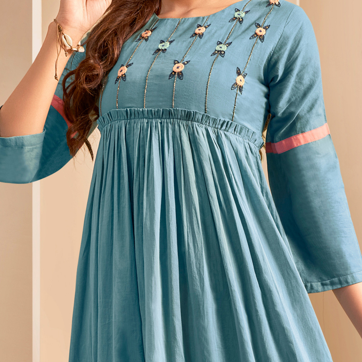 Gleaming Blue Colored Party Wear Thread Embroidered Flaired Cotton Long Kurti