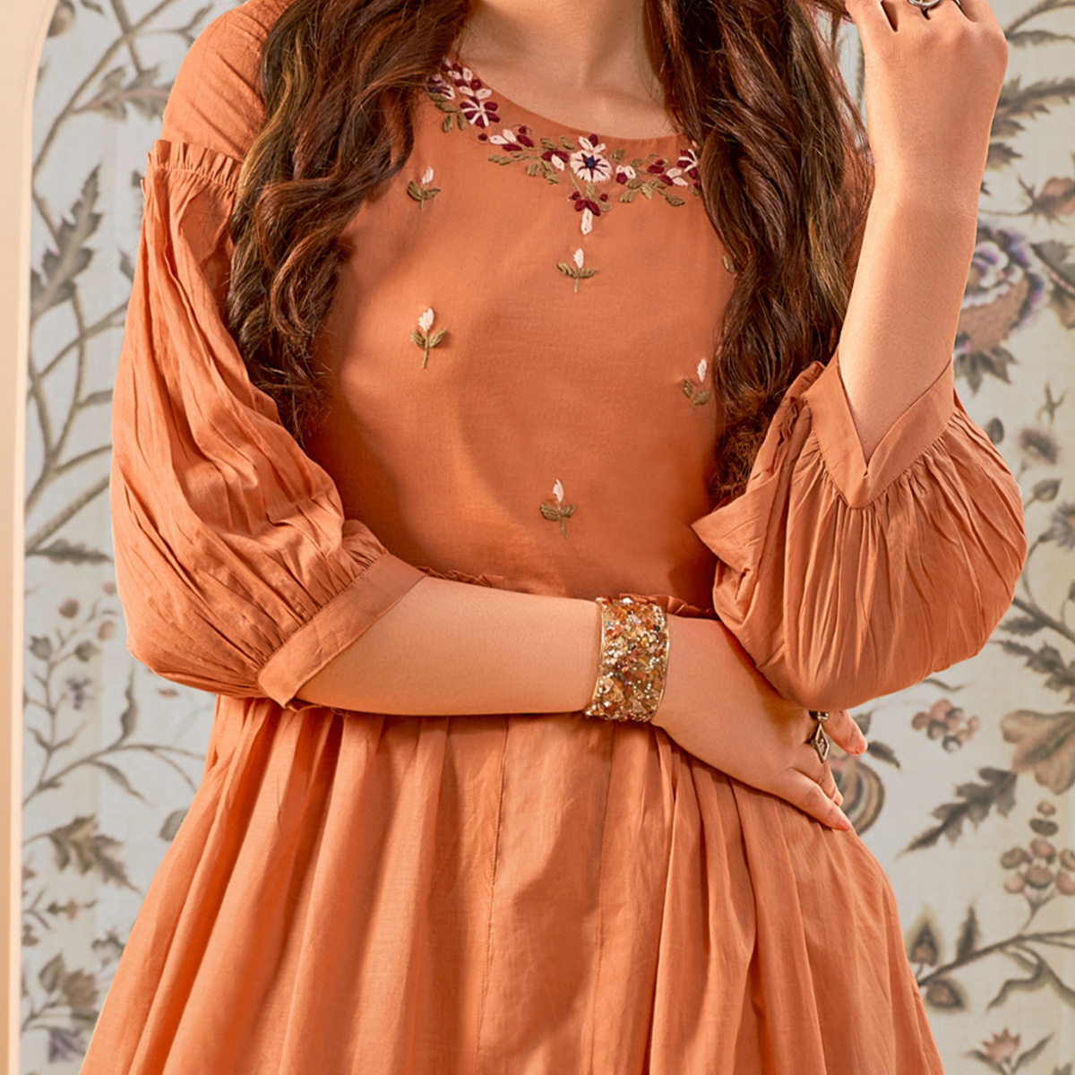 Mesmeric Orange Colored Party Wear Thread Embroidered Flaired Cotton Long Kurti
