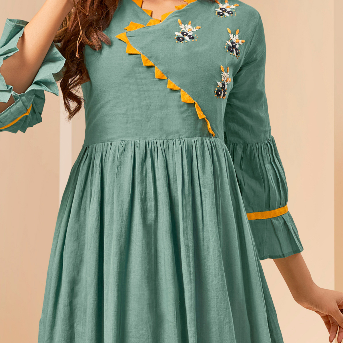 Unique Green Colored Party Wear Thread Embroidered Flaired Cotton Long Kurti