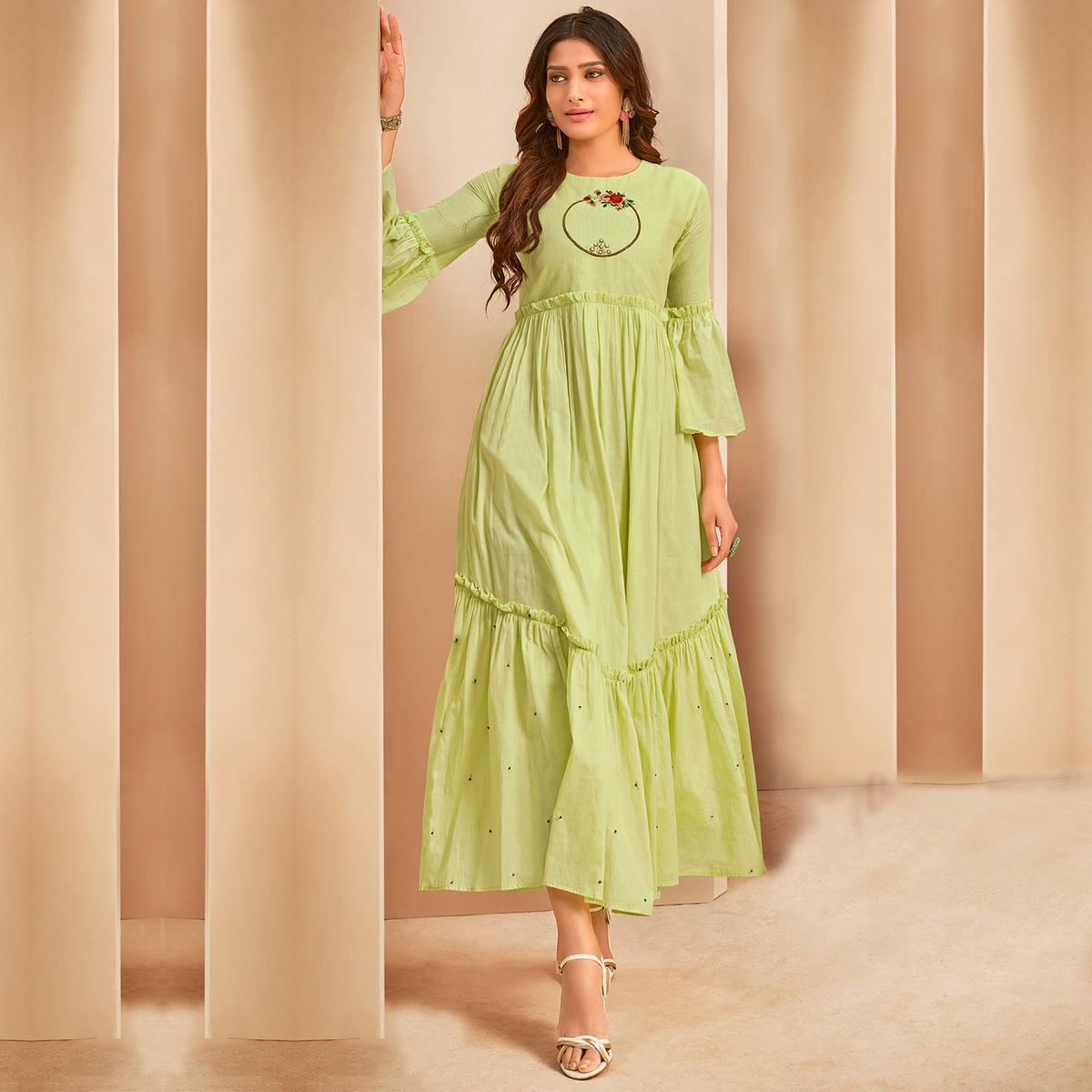 Demanding Light Green Colored Party Wear Thread Embroidered Flaired Cotton Long Kurti