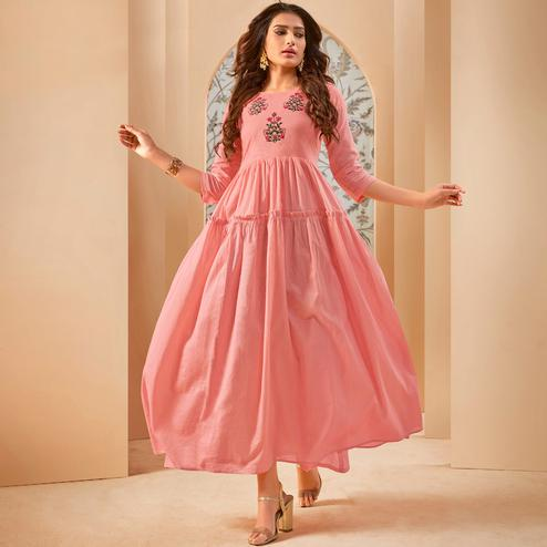 Refreshing Pink Colored Party Wear Thread Embroidered Flaired Cotton Long Kurti