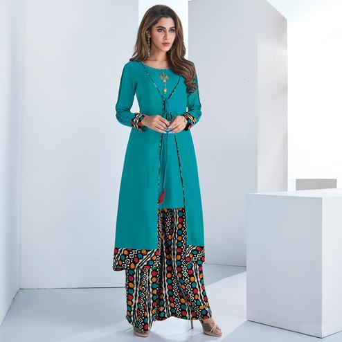 Arresting Rama Blue Colored Casual Wear Embroidered Rayon Kurti-Palazzo Set