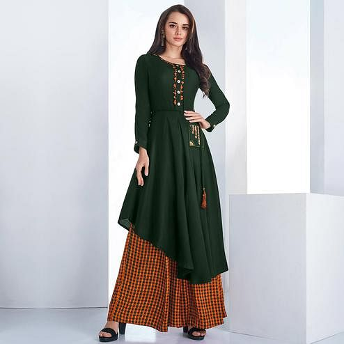 Desirable Green Colored Casual Wear Embroidered Rayon Kurti-Palazzo Set