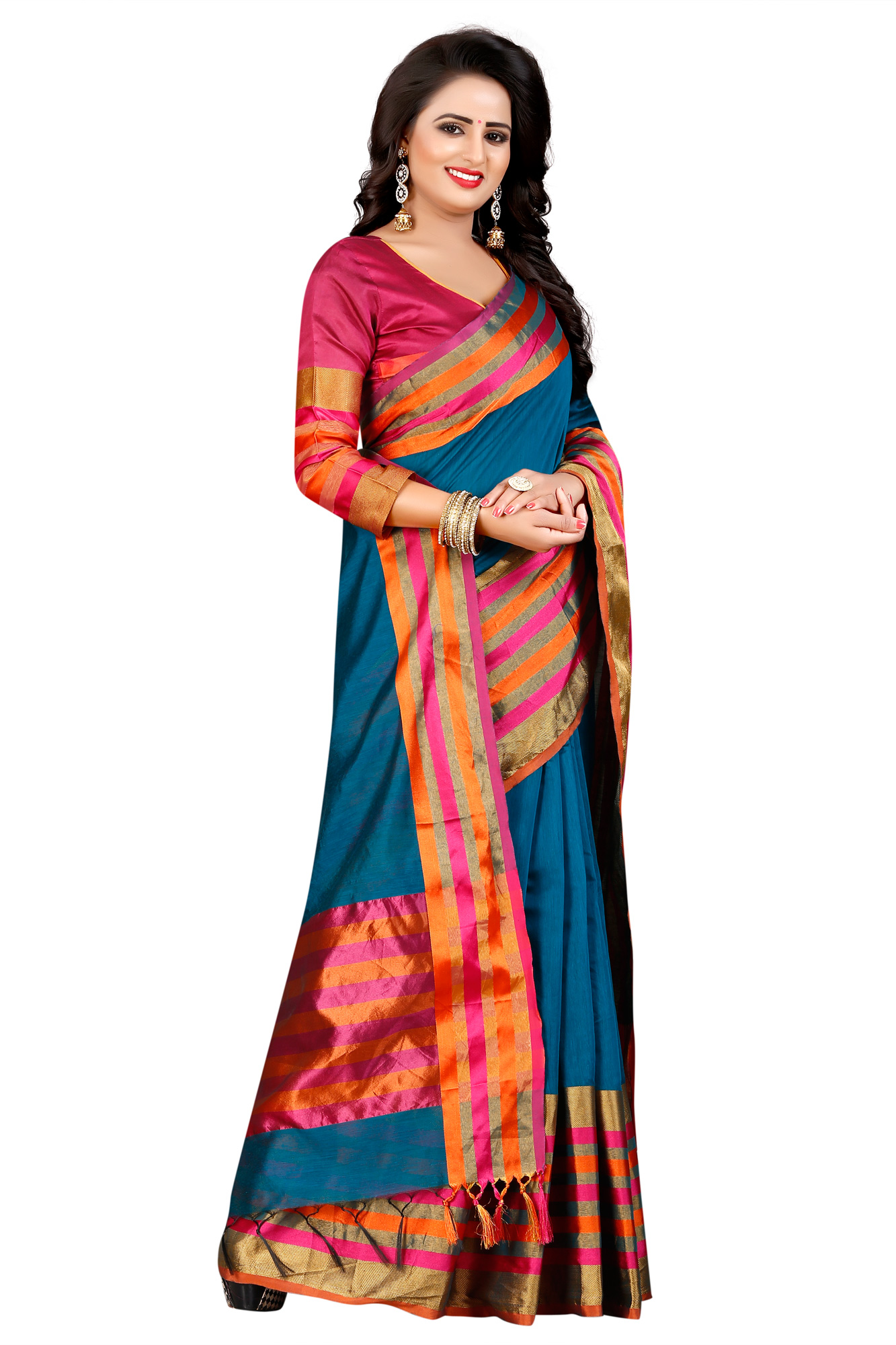 Graceful Blue Festive Wear Chanderi Silk Saree