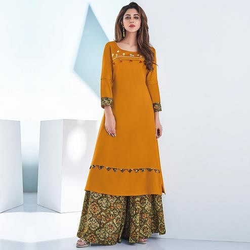 Exotic Rust Orange Colored Casual Wear Embroidered Rayon Kurti-Palazzo Set