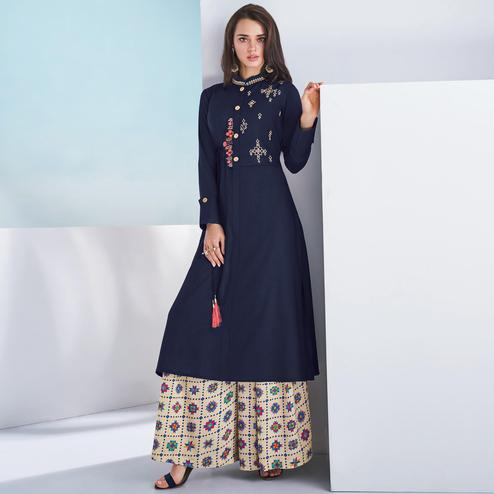 Trendy Navy Blue Colored Casual Wear Embroidered Rayon Kurti-Palazzo Set
