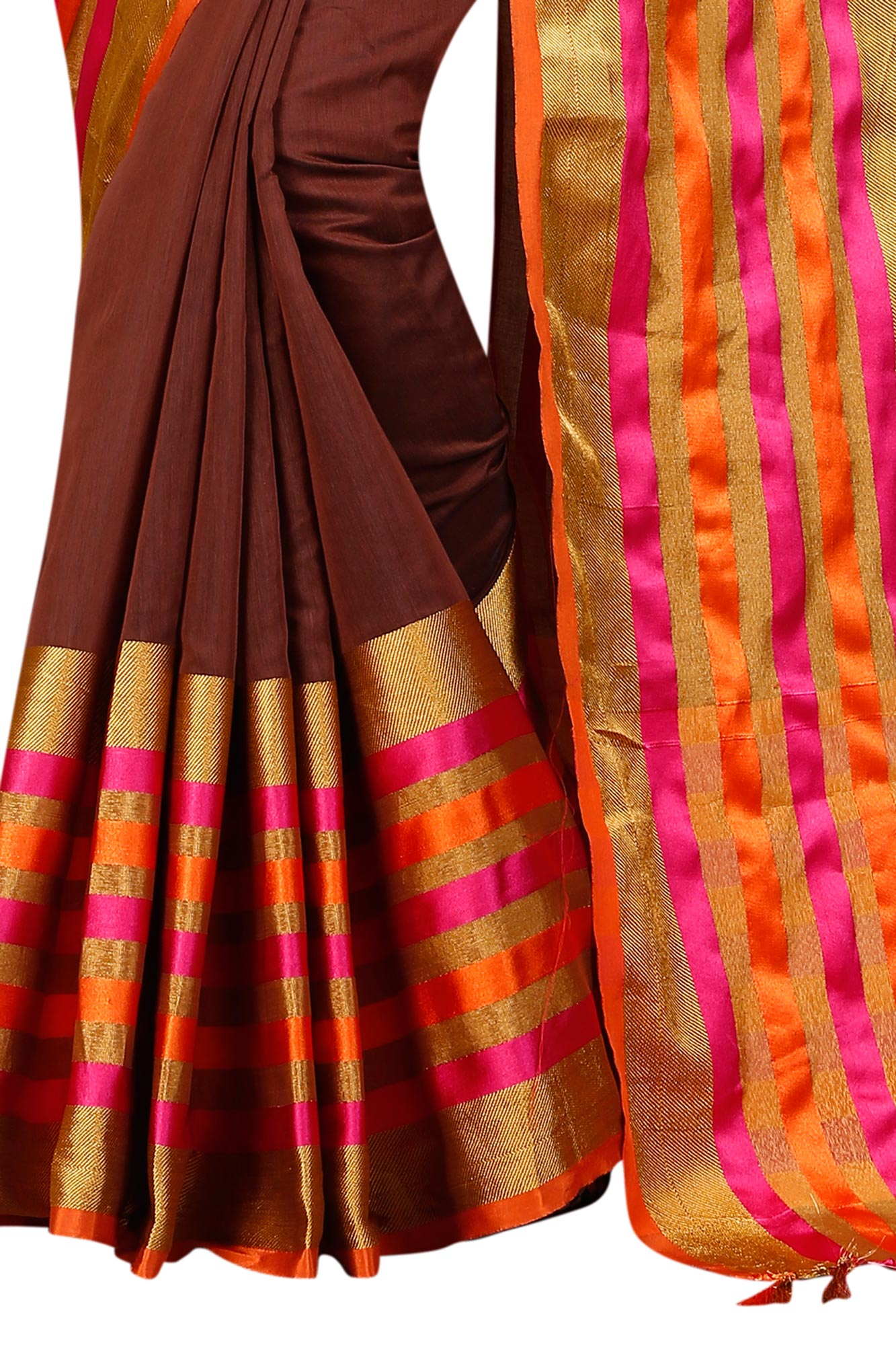 Charming Brown Festive Wear Chanderi Silk Saree