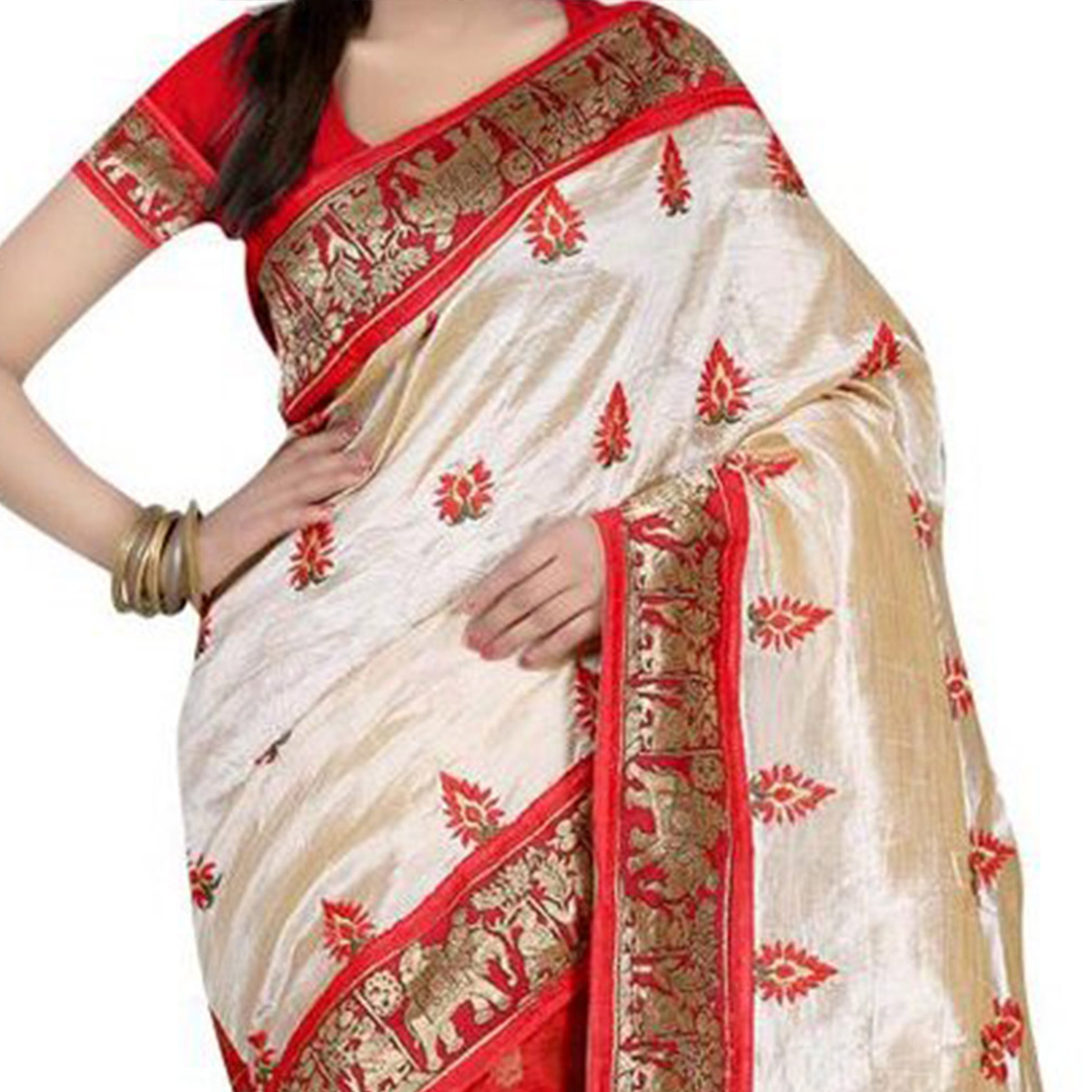 Red - Tan Bhagalpuri Saree