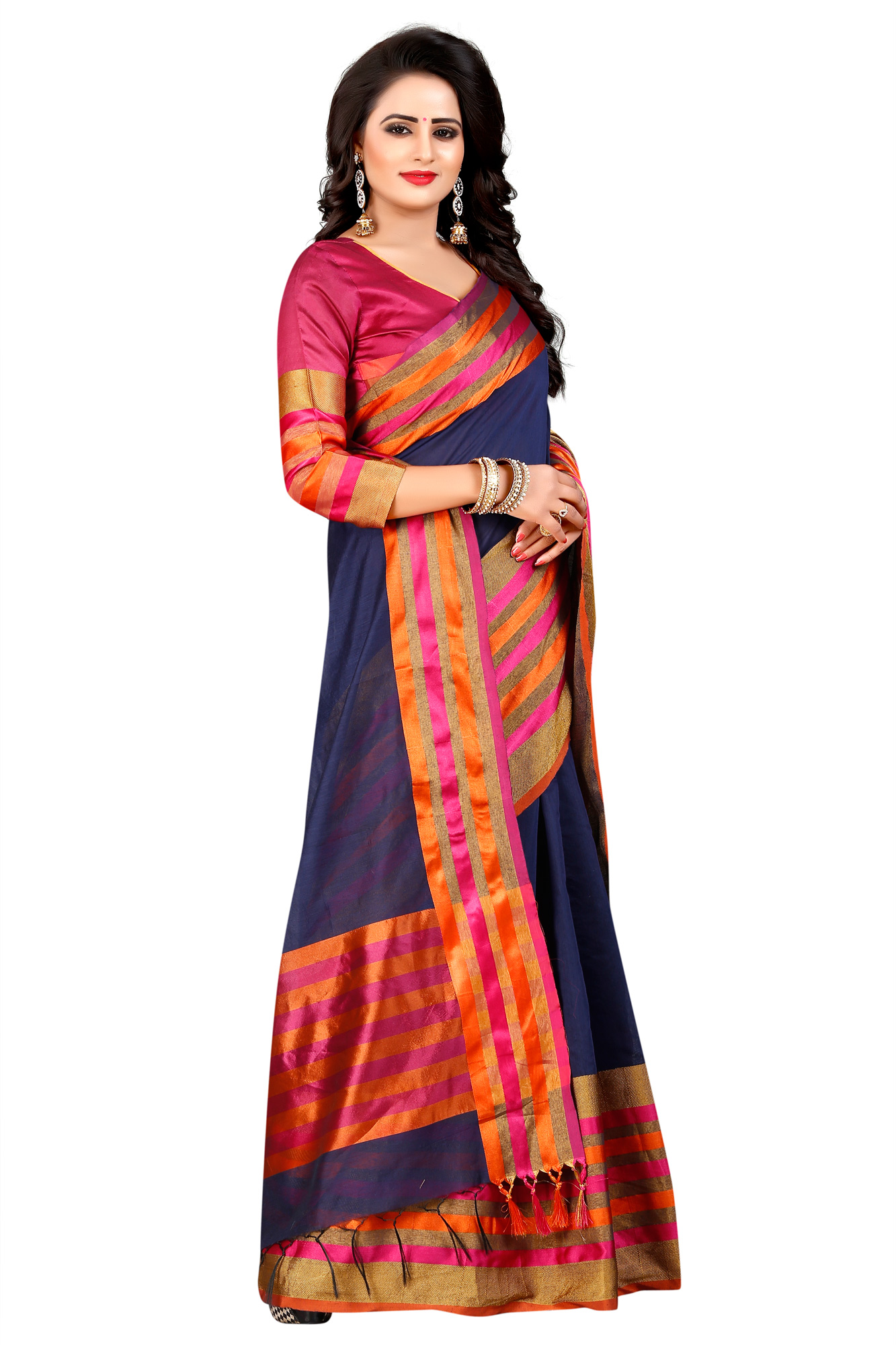 Beautiful Navy Festive Wear Chanderi Silk Saree