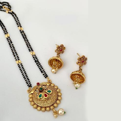 Intricate Gold Plated American Diamond Traditional Long Alloy Mangalsutra set