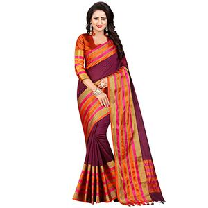 Gorgeous Wine Festive Wear Chanderi Silk Saree