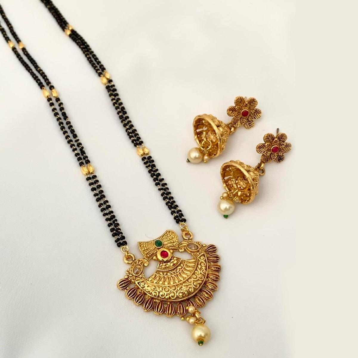 Pleasant Gold Plated American Diamond Traditional Long Alloy Mangalsutra set