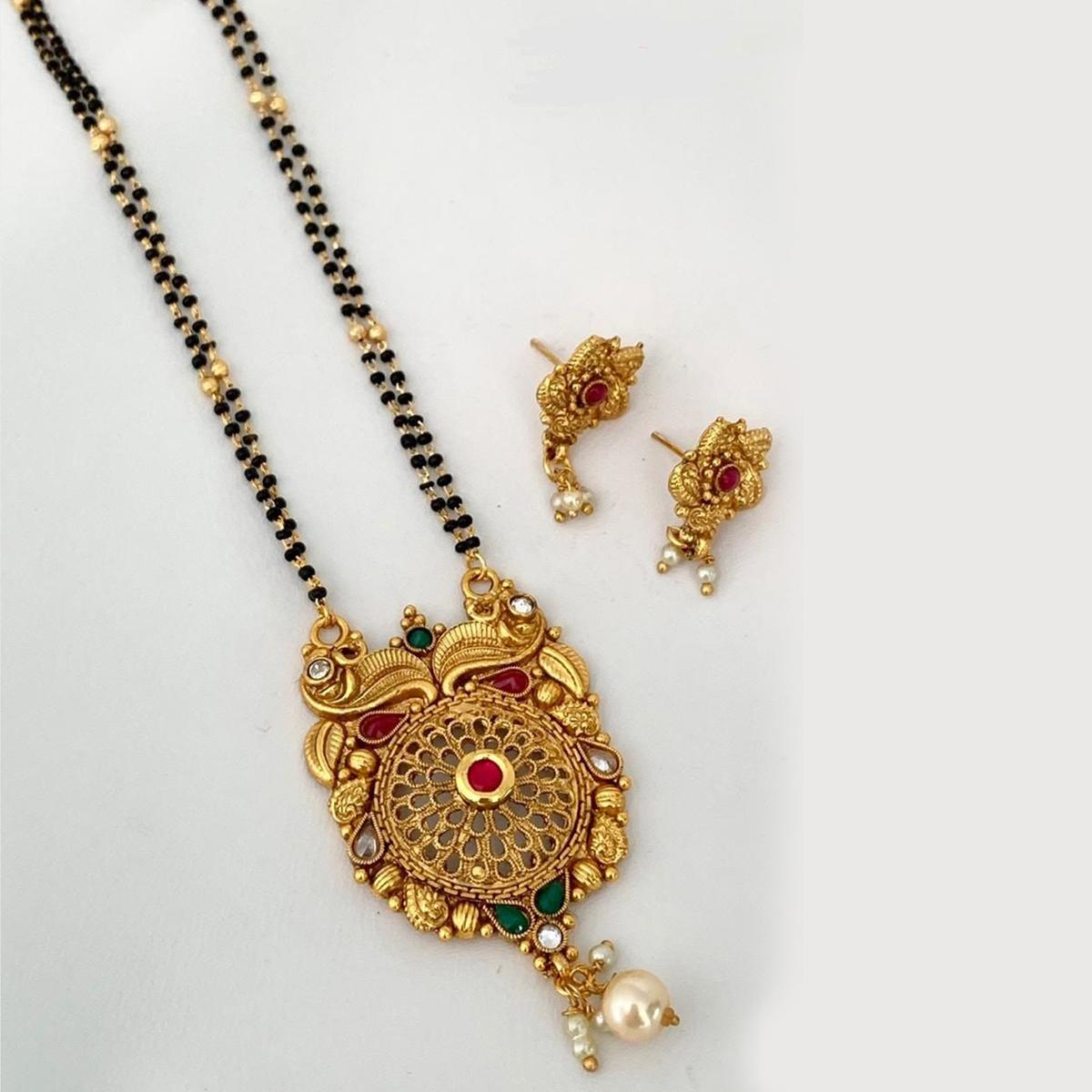 Energetic Gold Plated American Diamond Traditional Long Alloy Mangalsutra set