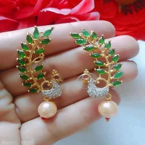 Sophisticated Gold Plated American Diamond Alloy Earrings