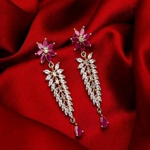 Exceptional Gold Plated American Diamond Alloy Earrings