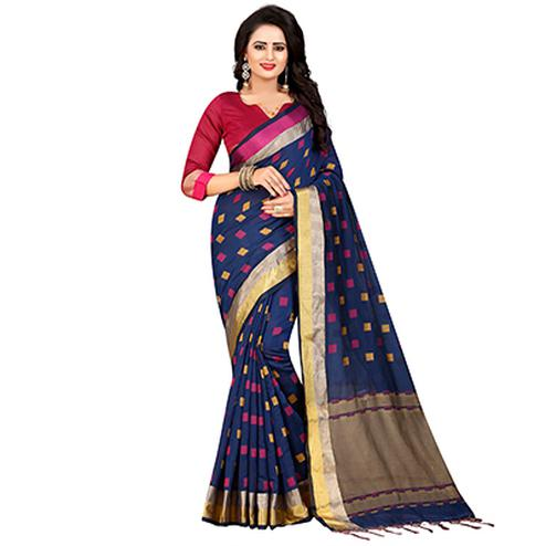 Adorable Navy Festive Wear Chanderi Silk Saree