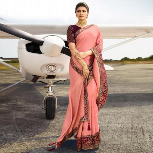 Appealing Peach Colored Partywear Woven Silk Saree
