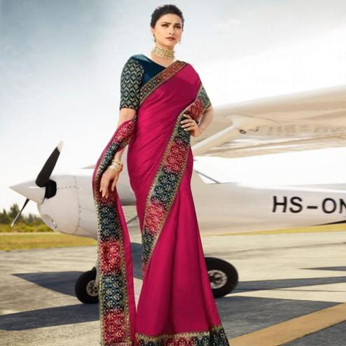 Adorning Pink Colored Partywear Woven Silk Saree