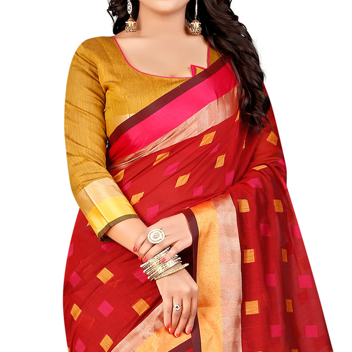 Beautiful Red Festive Wear Chanderi Silk Saree