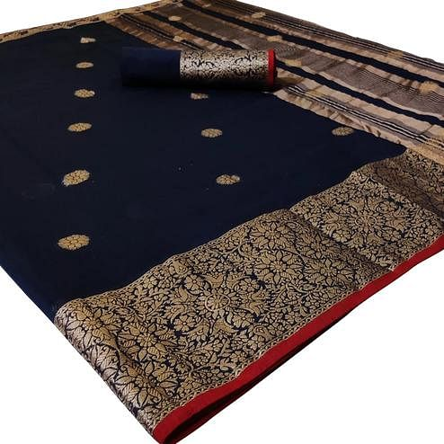 Glorious Navy Blue Colored Festive Wear Woven Linen Saree