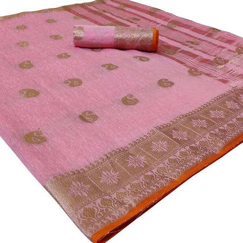 Blooming Light Pink Colored Festive Wear Woven Linen Saree