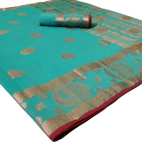 Charming Turquoise Blue Colored Festive Wear Woven Linen Saree