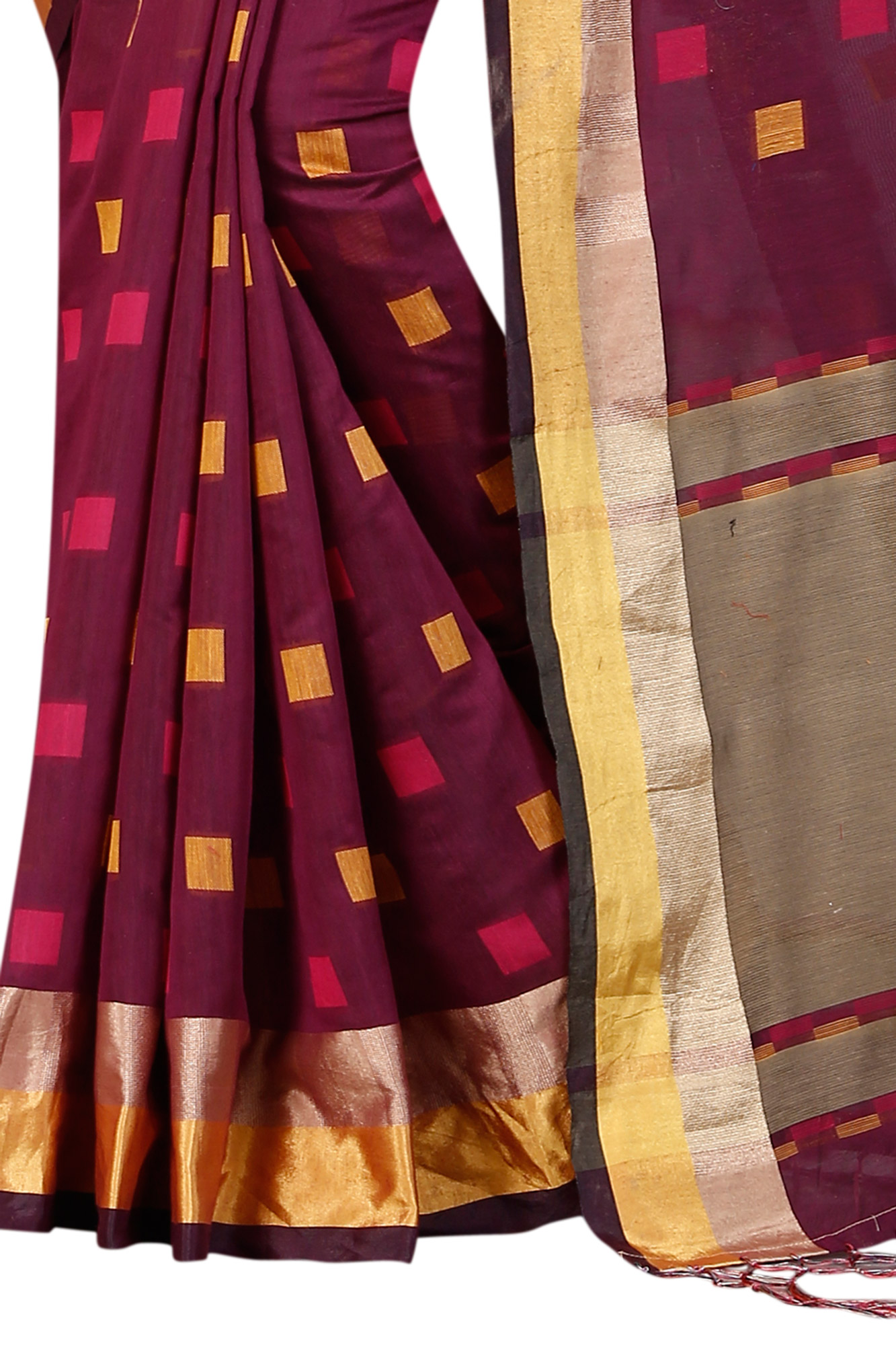 Delightful Wine Festive Wear Chanderi Silk Saree